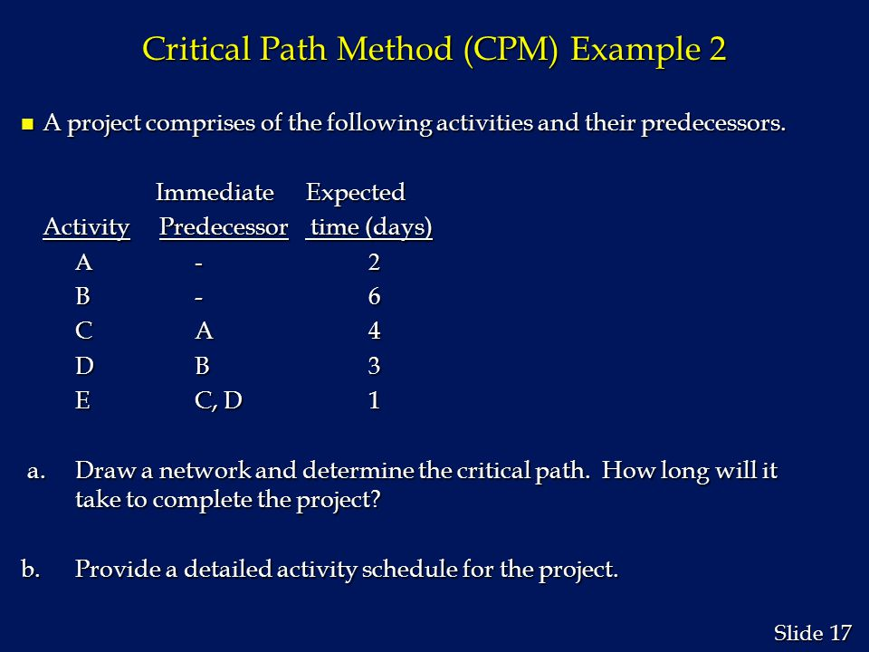 Critical Path Method (CPM) Example 2