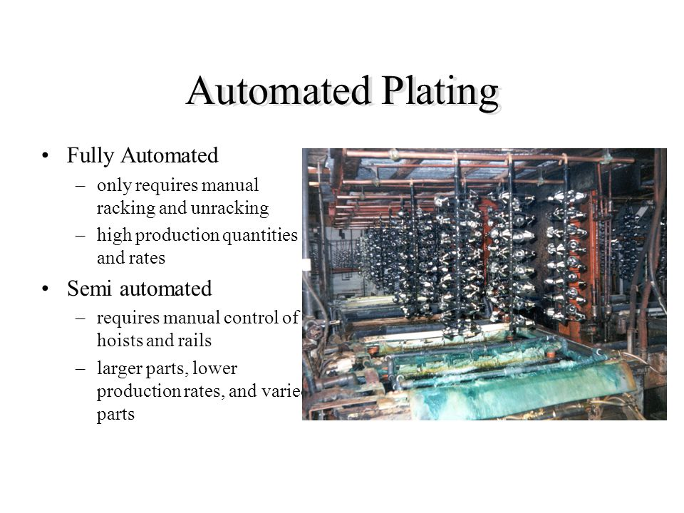Automated Plating Fully Automated Semi automated