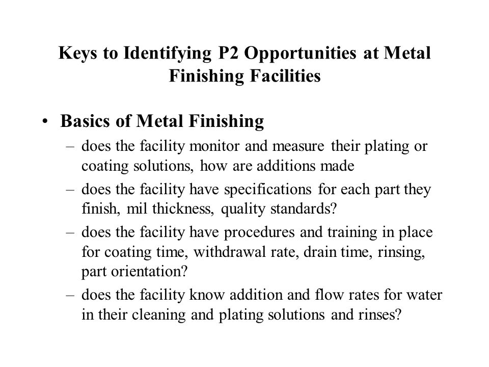 Keys to Identifying P2 Opportunities at Metal Finishing Facilities