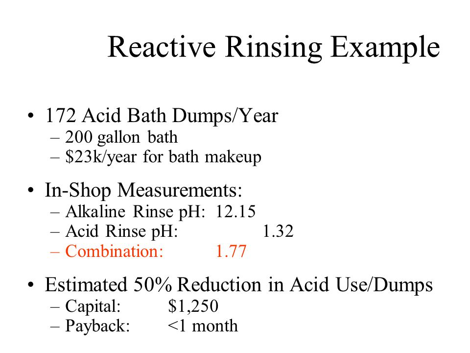 Reactive Rinsing Example