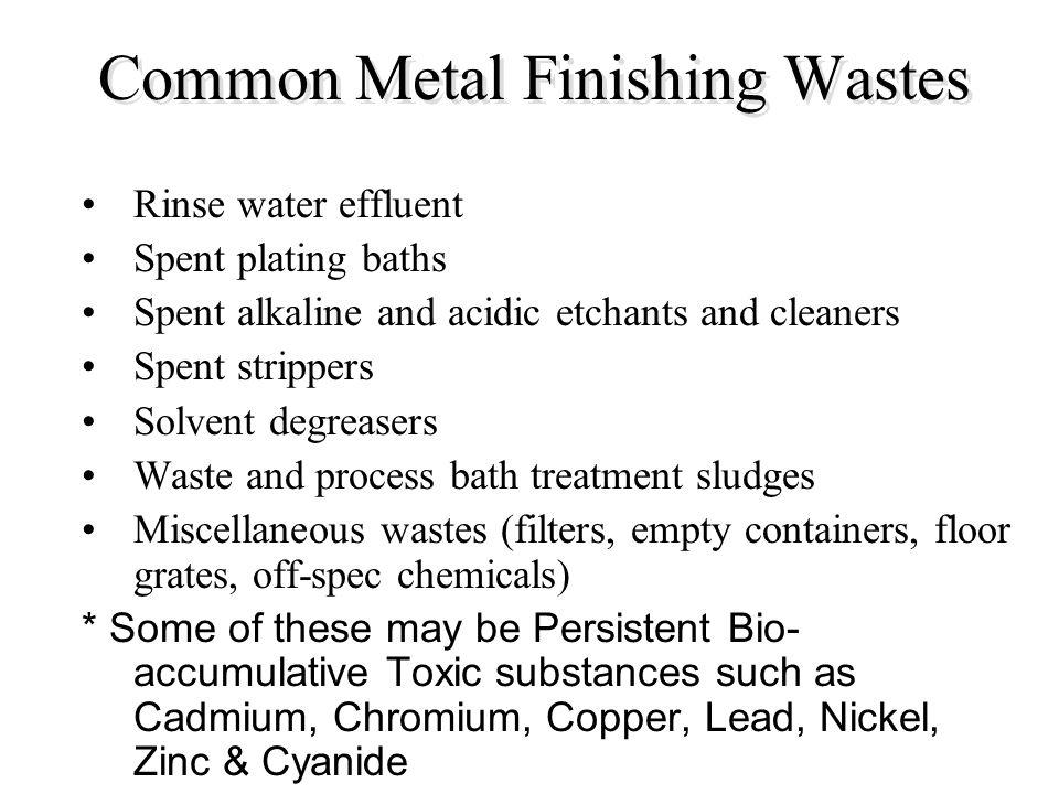 Common Metal Finishing Wastes