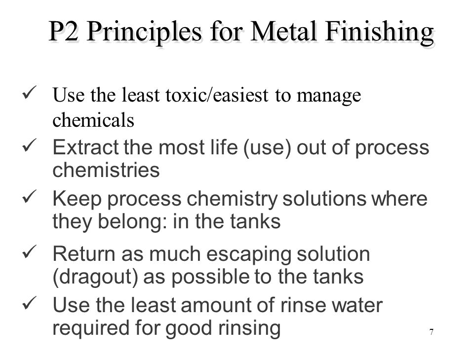 P2 Principles for Metal Finishing