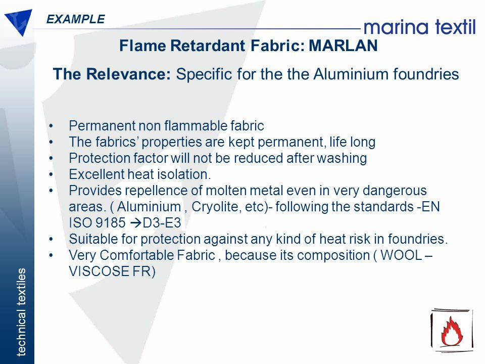 Flame Retardant Fabric: MARLAN