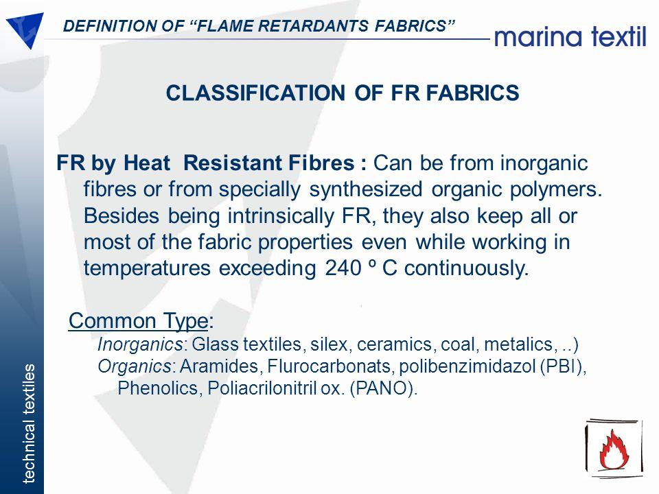 CLASSIFICATION OF FR FABRICS