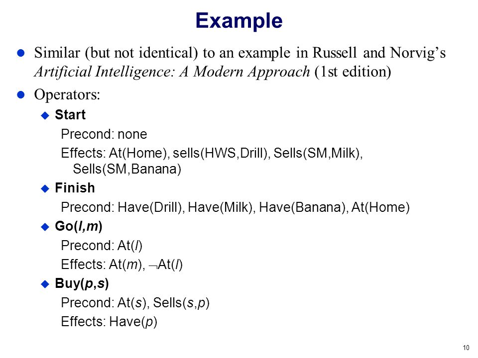 Example Similar (but not identical) to an example in Russell and Norvig's Artificial Intelligence: A Modern Approach (1st edition)