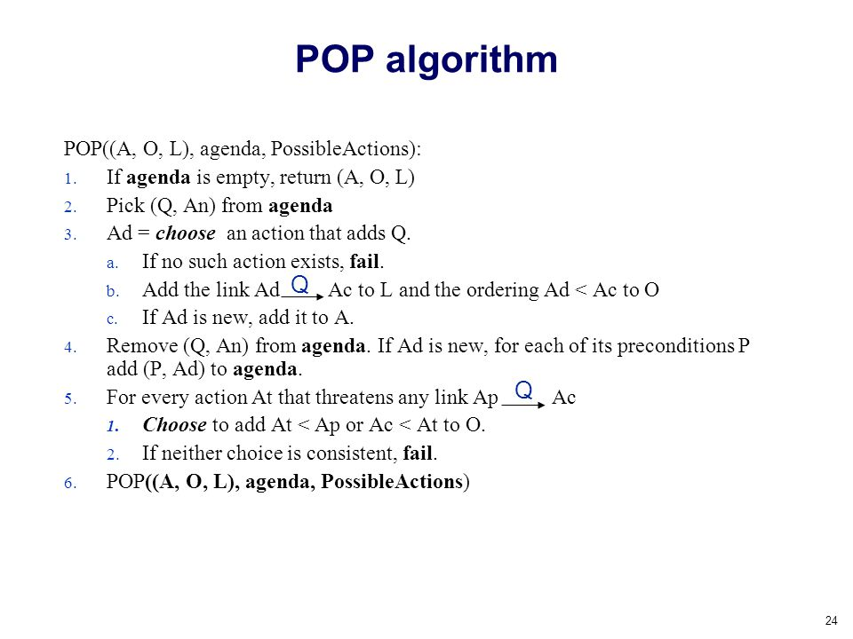 POP algorithm Q Q POP((A, O, L), agenda, PossibleActions):