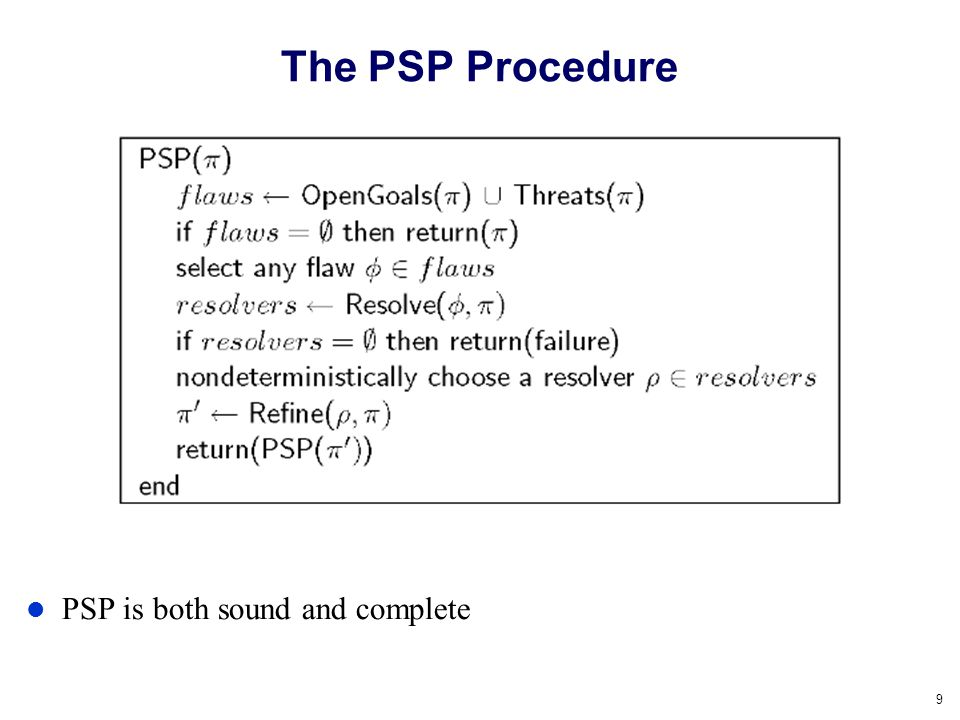 The PSP Procedure PSP is both sound and complete