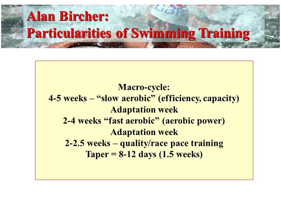 Alan Bircher: Particularities of Swimming Training
