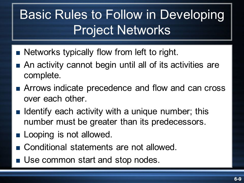 Basic Rules to Follow in Developing Project Networks