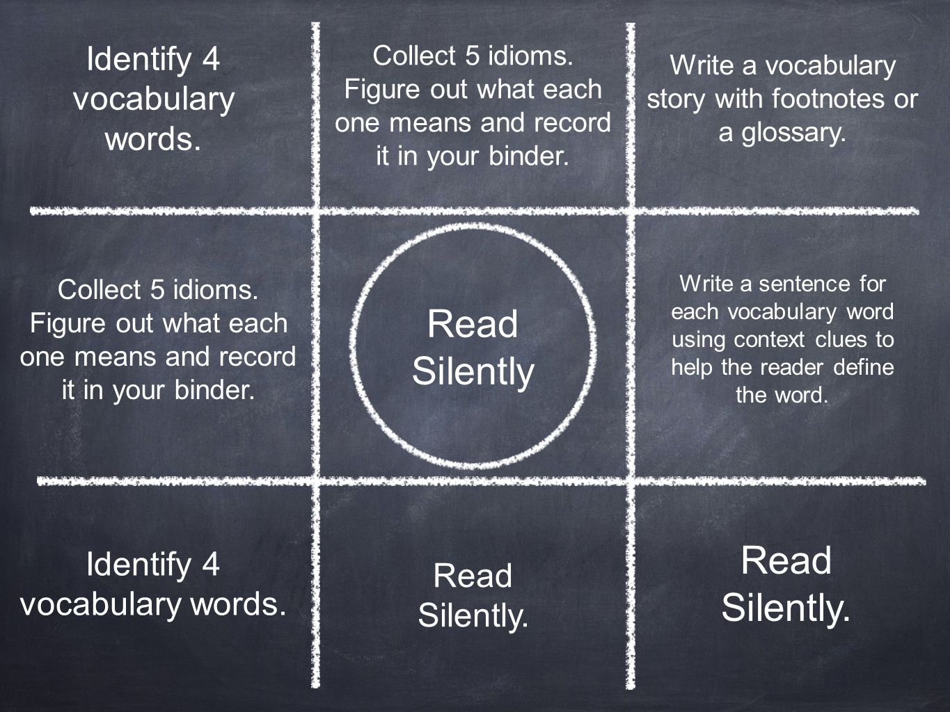 Read Silently Read Silently. Identify 4 vocabulary words.