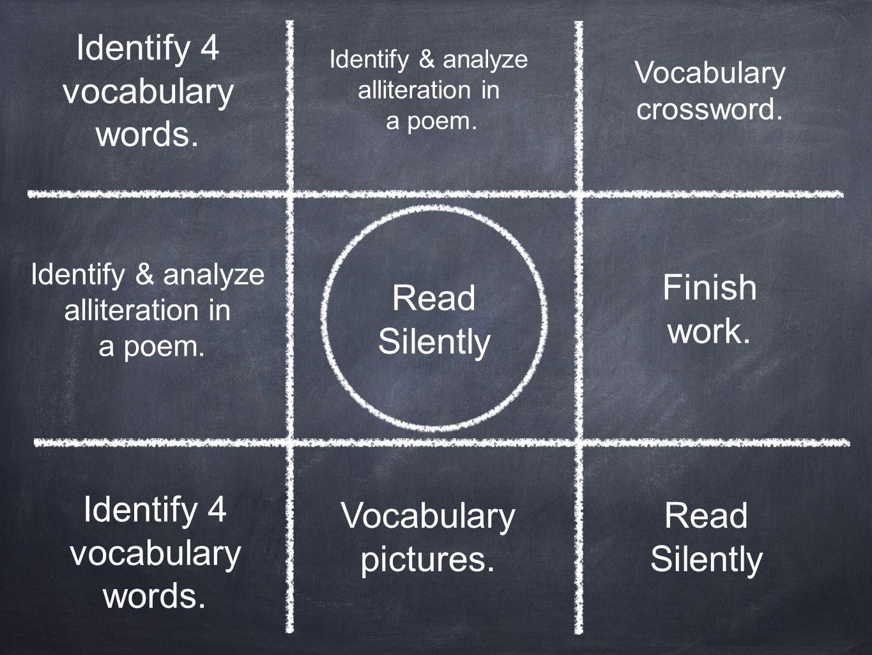 Identify 4 vocabulary words.