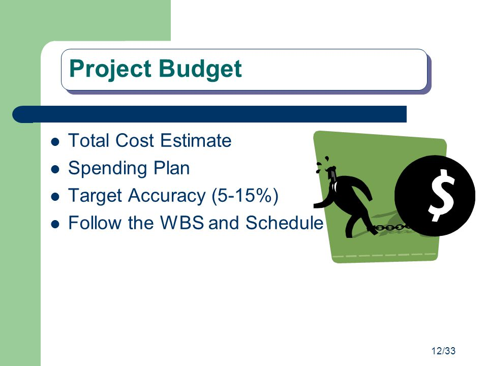 Project Budget Total Cost Estimate Spending Plan