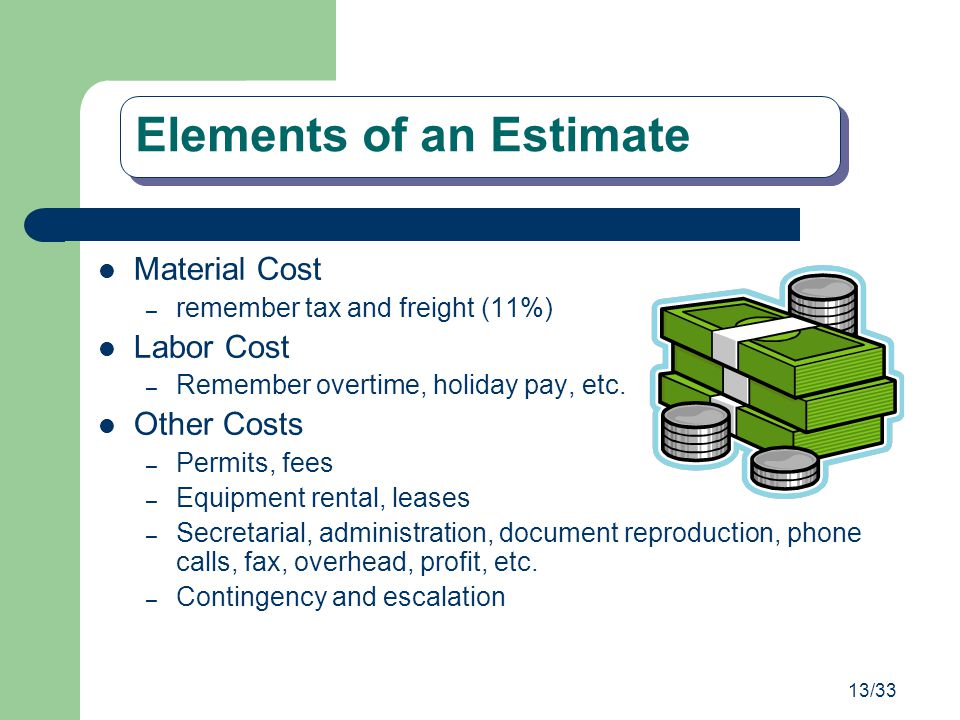 Elements of an Estimate