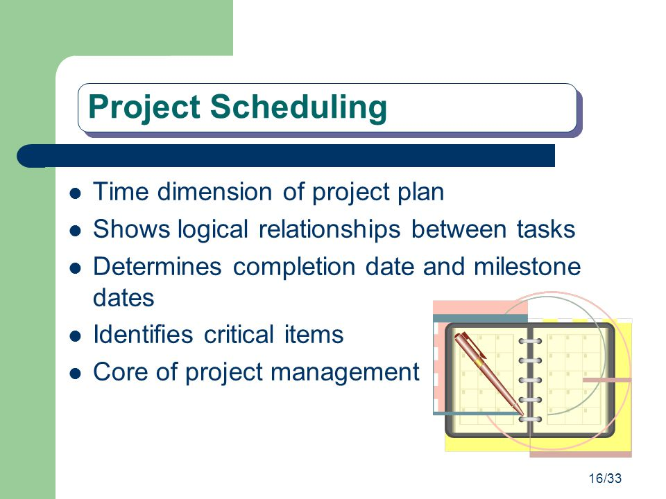 Project Scheduling Time dimension of project plan