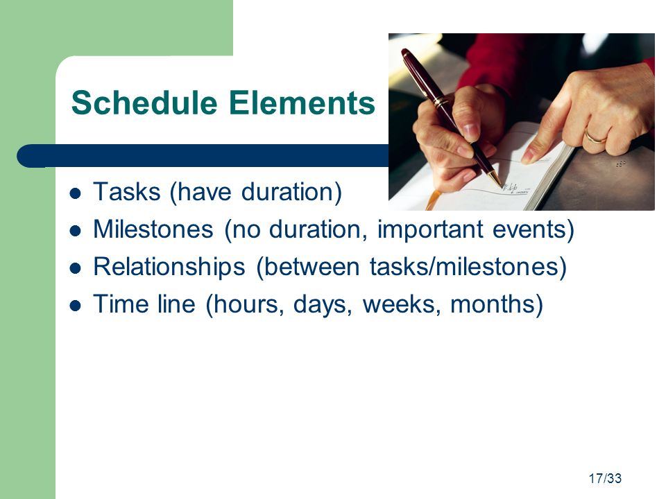 Schedule Elements Tasks (have duration)
