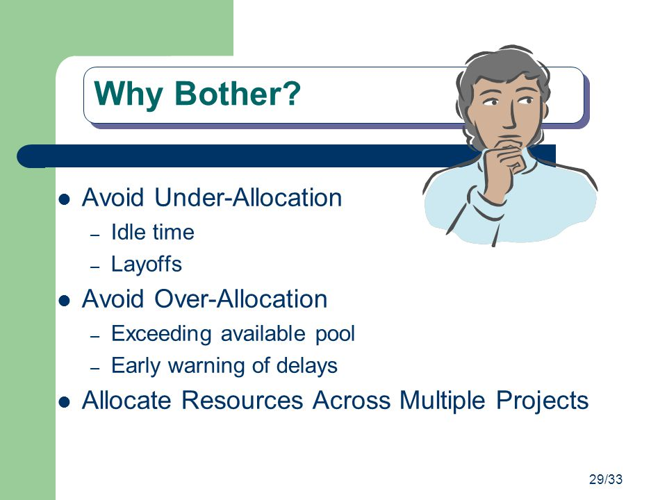 Why Bother Avoid Under-Allocation Avoid Over-Allocation