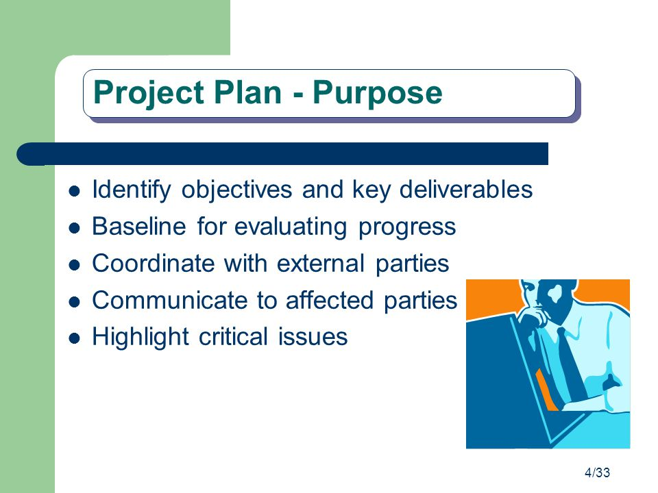 Project Plan - Purpose Identify objectives and key deliverables