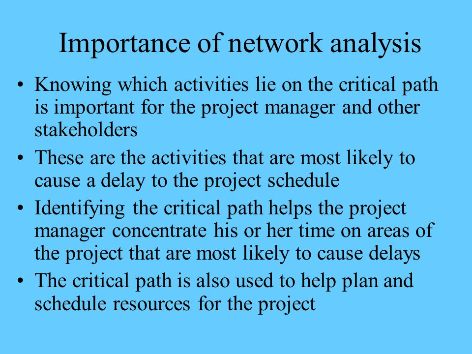 Importance of network analysis