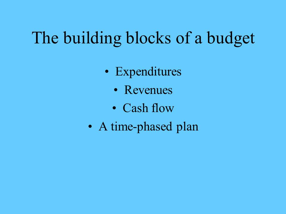 The building blocks of a budget