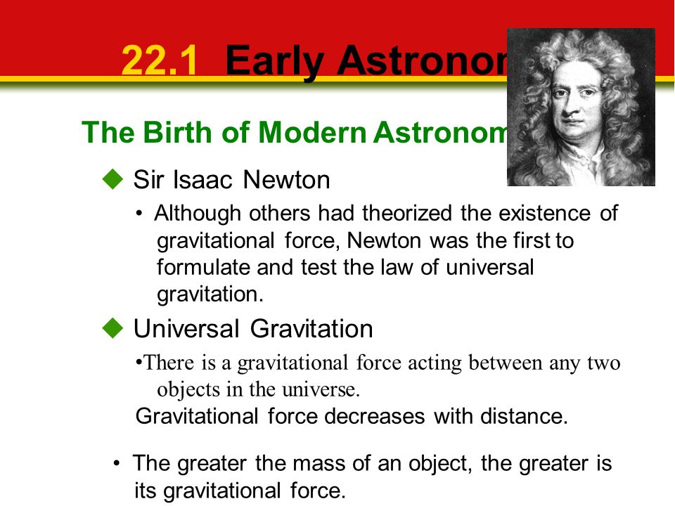 22.1 Early Astronomy The Birth of Modern Astronomy  Sir Isaac Newton