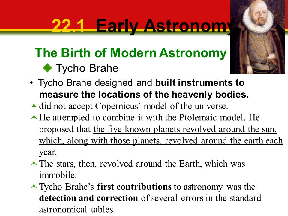 22.1 Early Astronomy The Birth of Modern Astronomy  Tycho Brahe