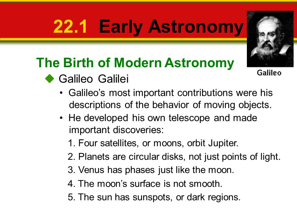 22.1 Early Astronomy The Birth of Modern Astronomy  Galileo Galilei