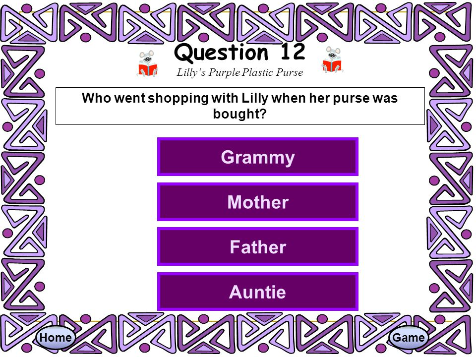 Question 12 Lilly's Purple Plastic Purse