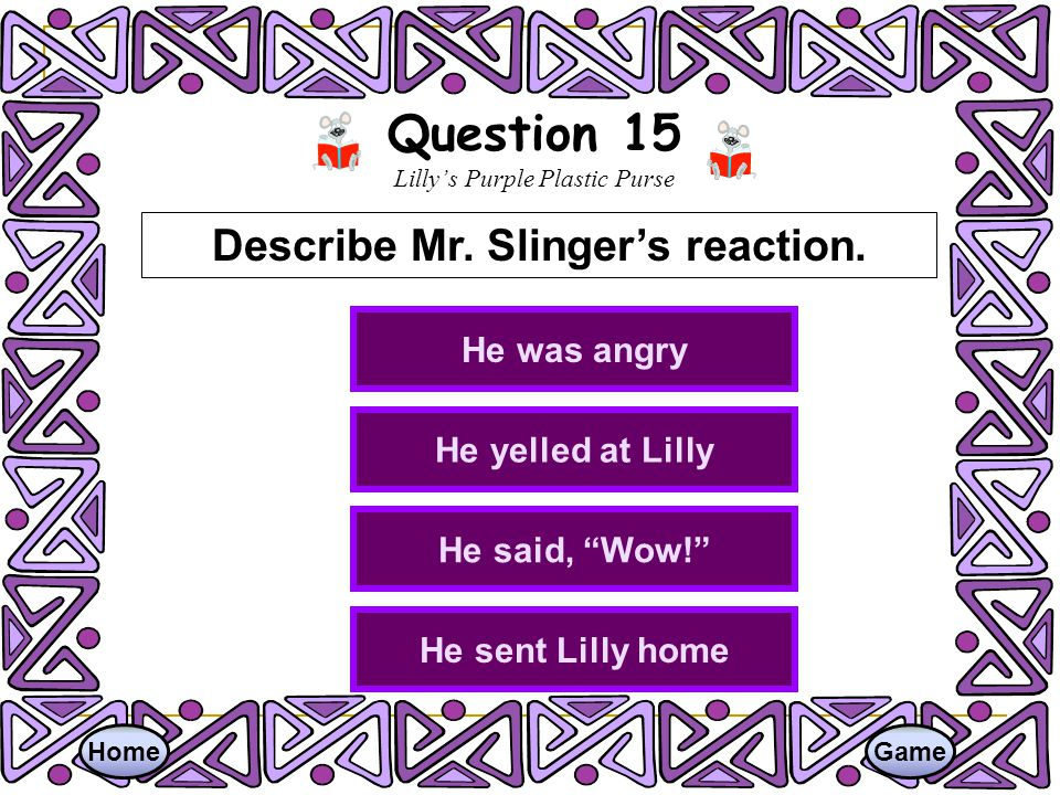 Question 15 Lilly's Purple Plastic Purse