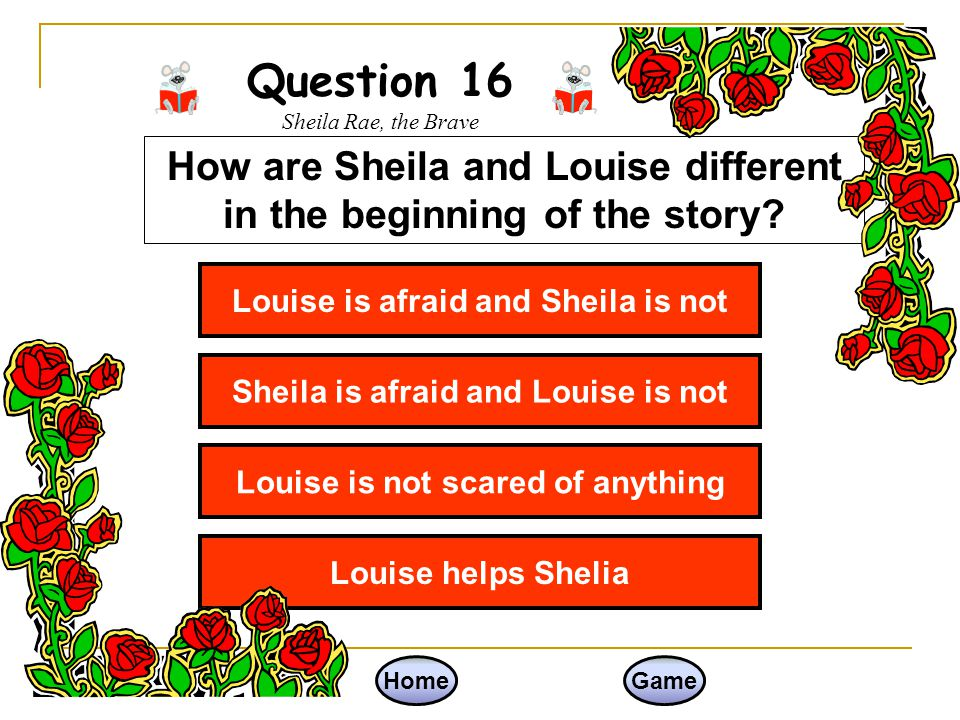 Question 16 Sheila Rae, the Brave
