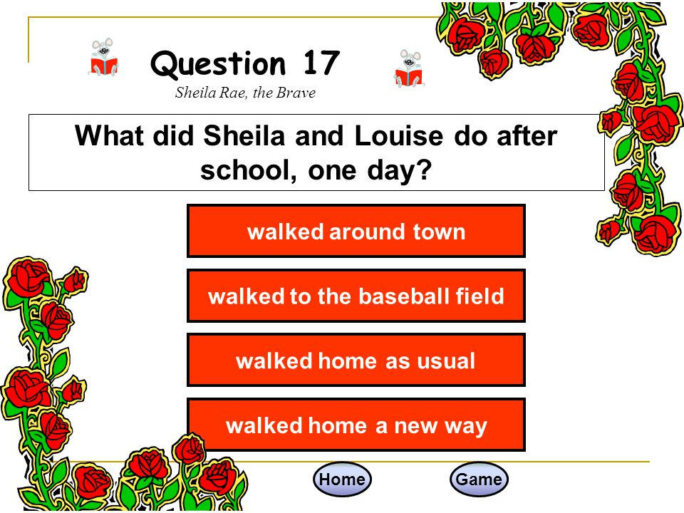 Question 17 Sheila Rae, the Brave
