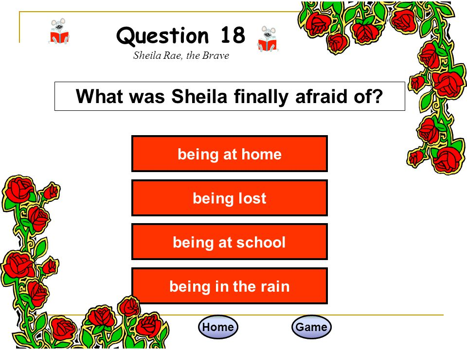 Question 18 Sheila Rae, the Brave