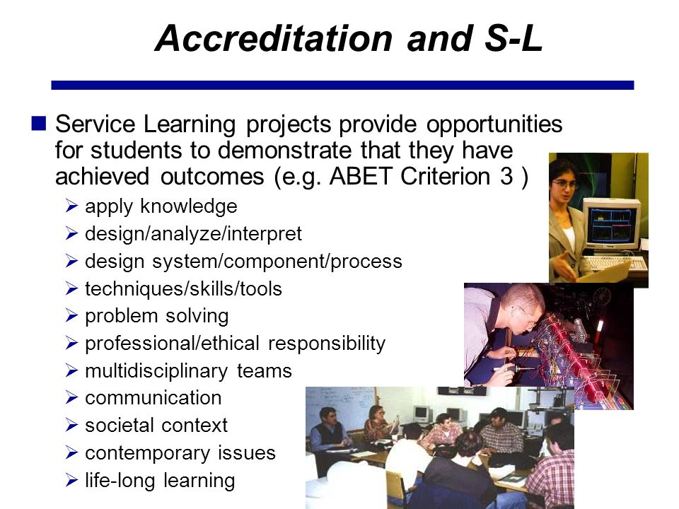 Accreditation and S-L