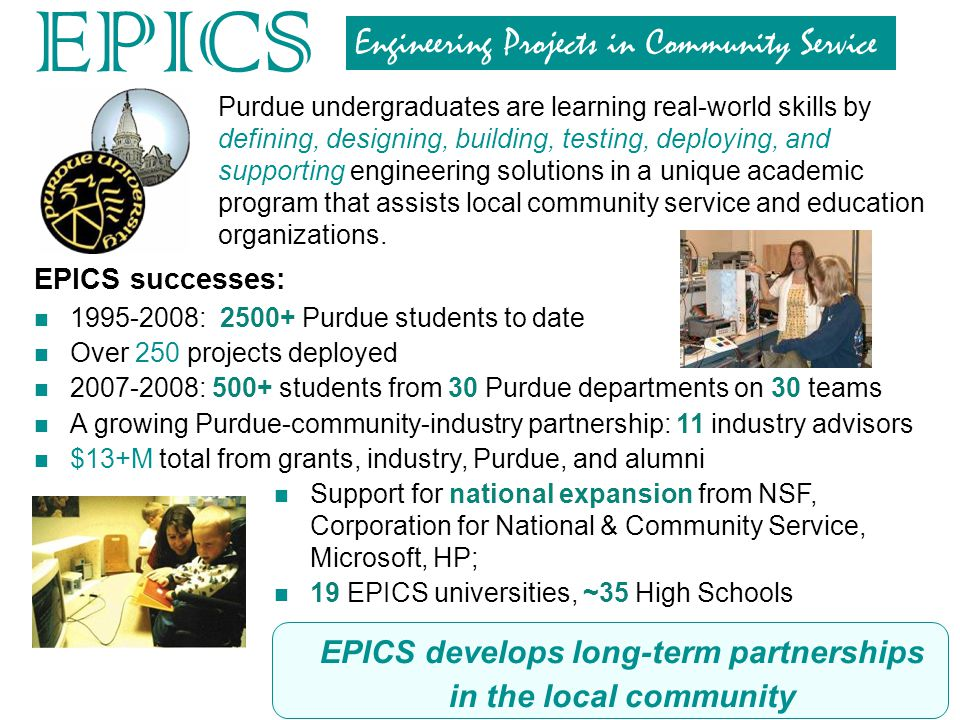 EPICS develops long-term partnerships in the local community