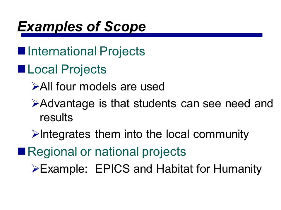 Examples of Scope International Projects Local Projects