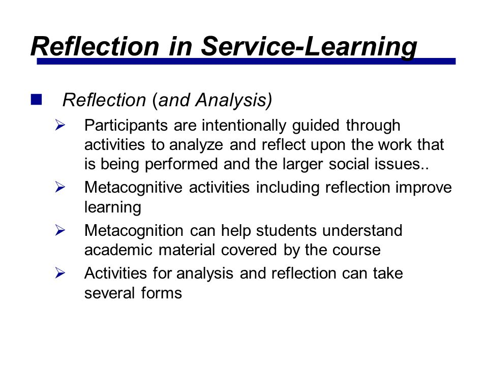 Reflection in Service-Learning