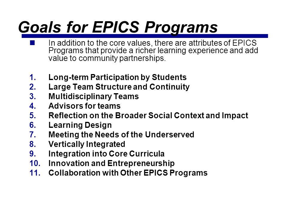 Goals for EPICS Programs
