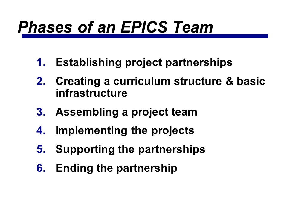 Phases of an EPICS Team Establishing project partnerships
