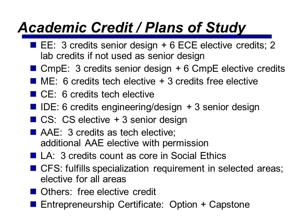 Academic Credit / Plans of Study