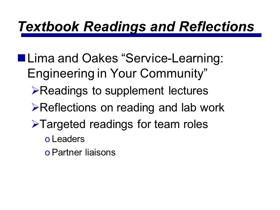 Textbook Readings and Reflections