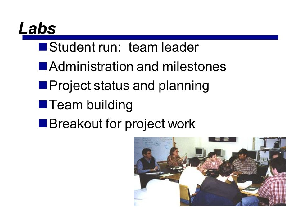 Labs Student run: team leader Administration and milestones