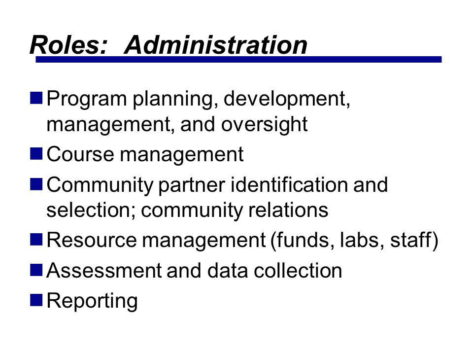 Roles: Administration