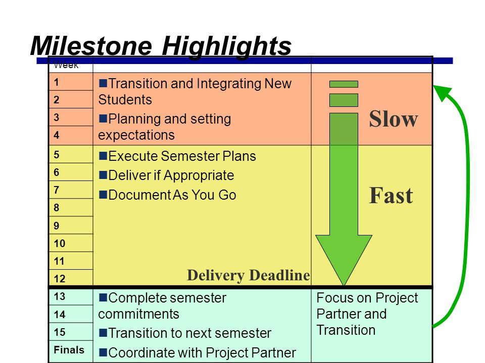 Milestone Highlights Slow Fast Delivery Deadline