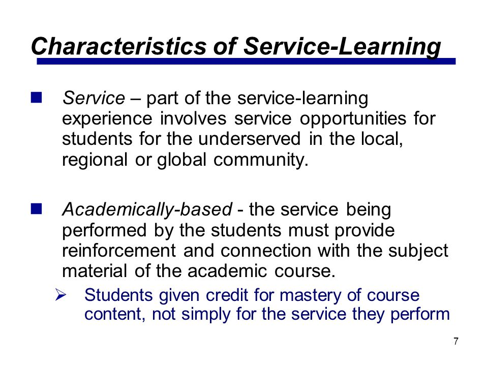 Characteristics of Service-Learning