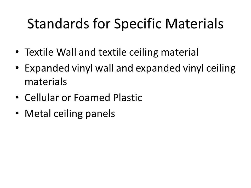 Standards for Specific Materials