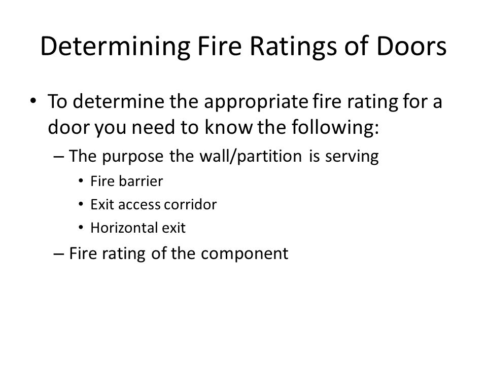 Determining Fire Ratings of Doors
