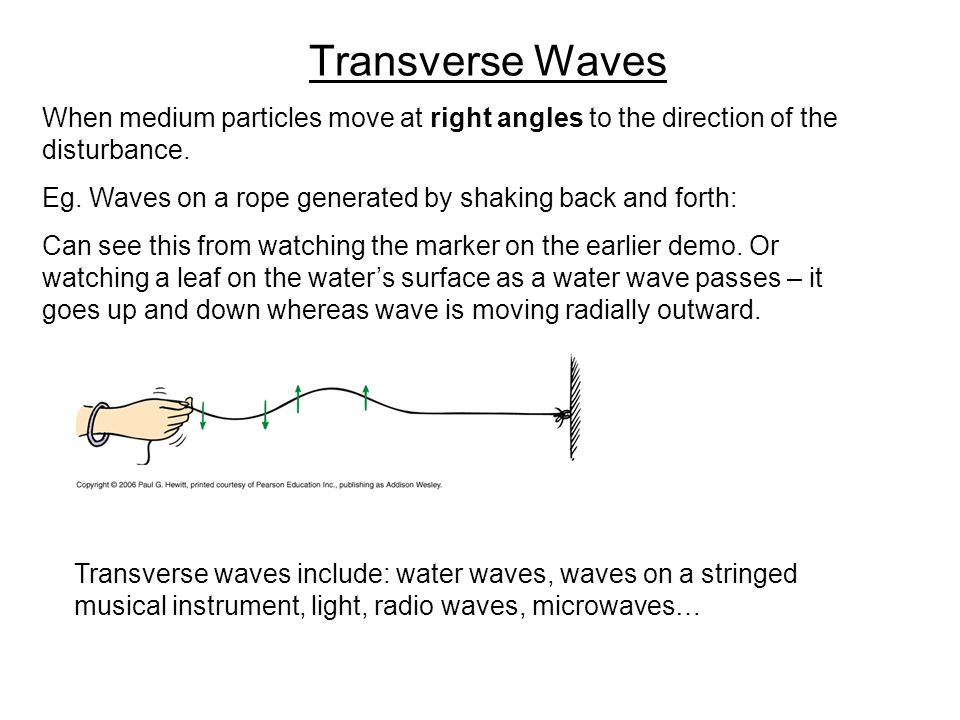 Transverse Waves When medium particles move at right angles to the direction of the disturbance.