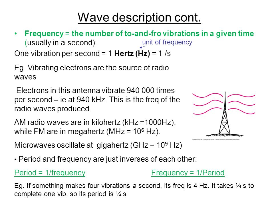 Wave description cont. Frequency = the number of to-and-fro vibrations in a given time (usually in a second).