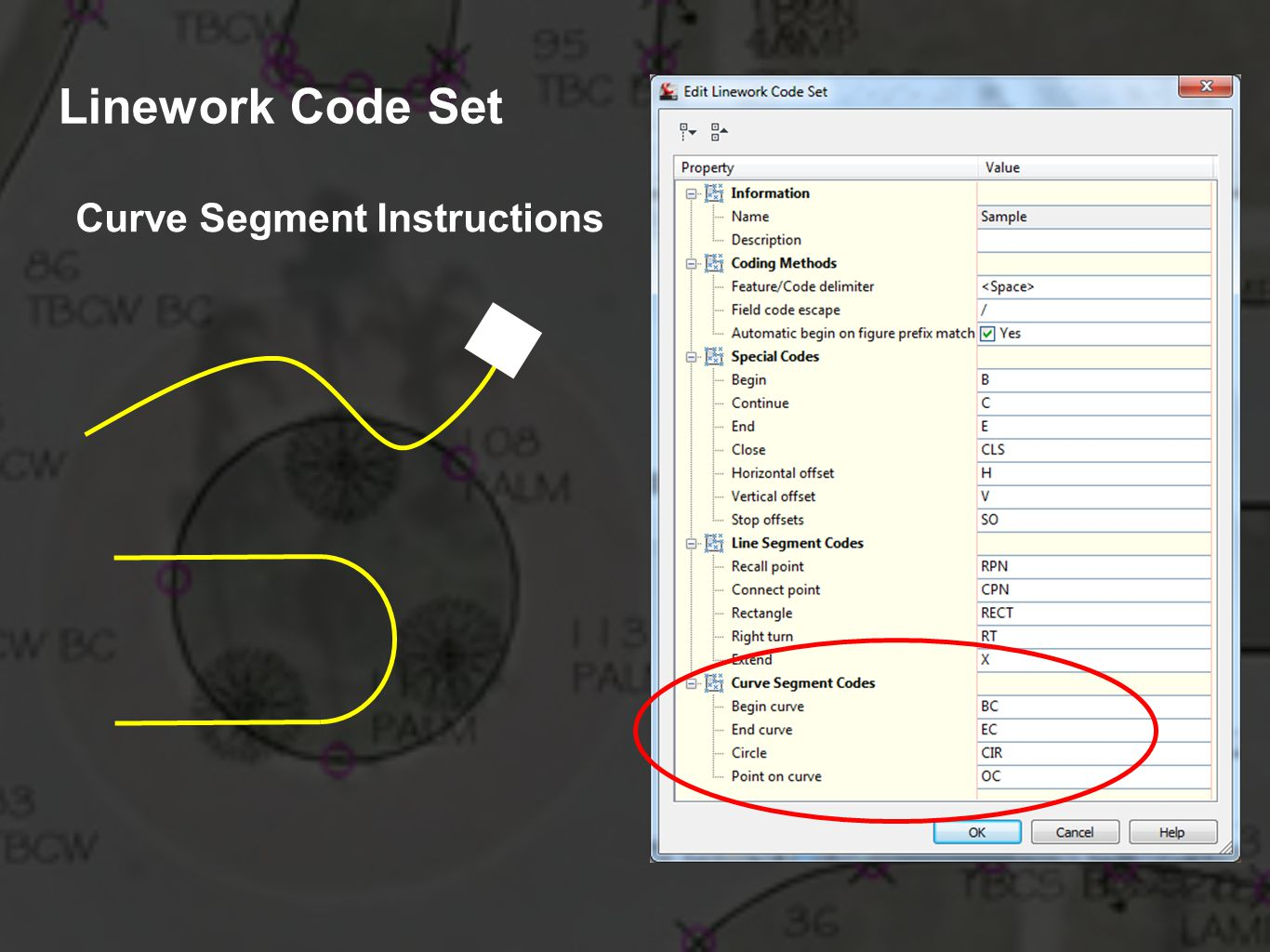 Linework Code Set Curve Segment Instructions