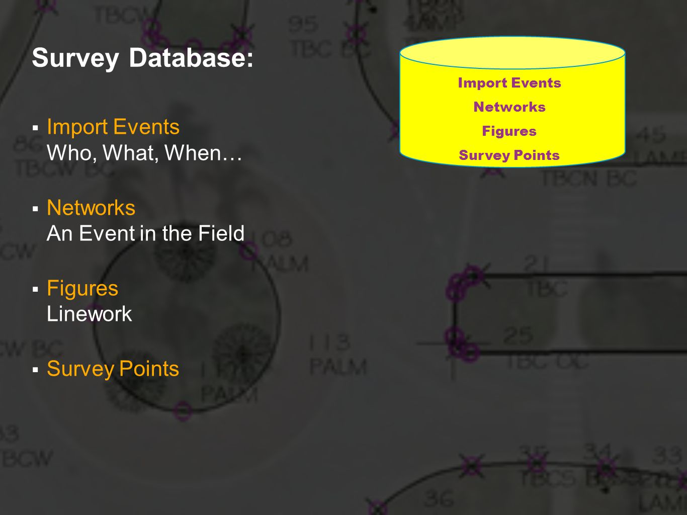 Survey Database: Import Events Who, What, When…