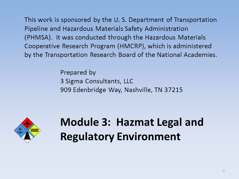Module 3: Hazmat Legal and Regulatory Environment
